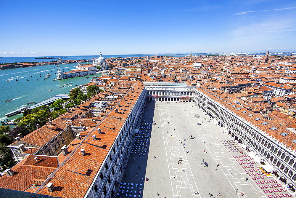 View from St Mark's Campanile in St Mark's Square, Piazza San Marco, Grand Canal left, Venice, Veneto, Italy, Europe