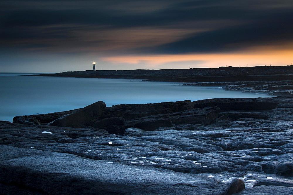 Lighthouse by the coast, Inis Oirr, Aran Islands, Ireland, Europe