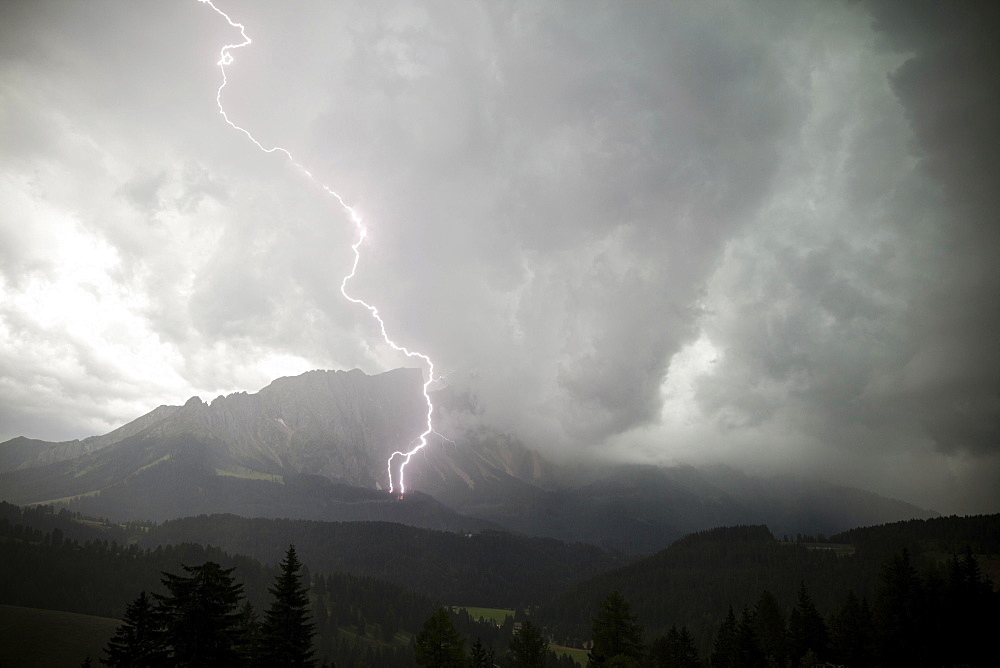 Severe weather, thunderstorm, lighting strike, Latemar, South Tyrol, Italy, Europe