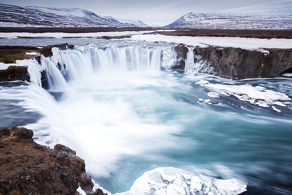 Godafoss in winter, Fossholl, Southern Region, Iceland, Europe