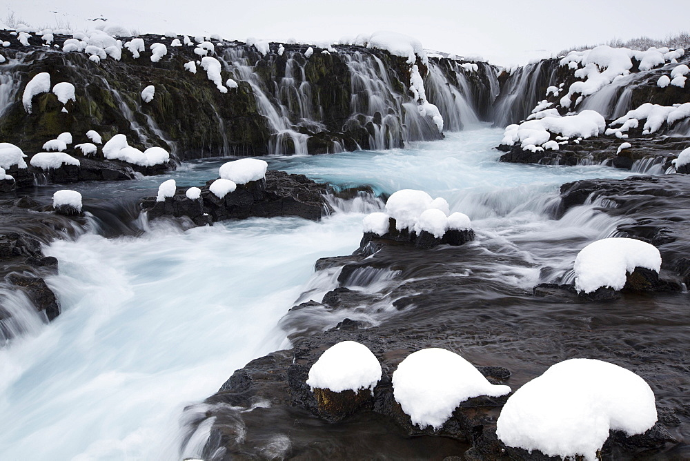 Bruarfoss in winter, river Bruara, Southern Region, Iceland, Europe