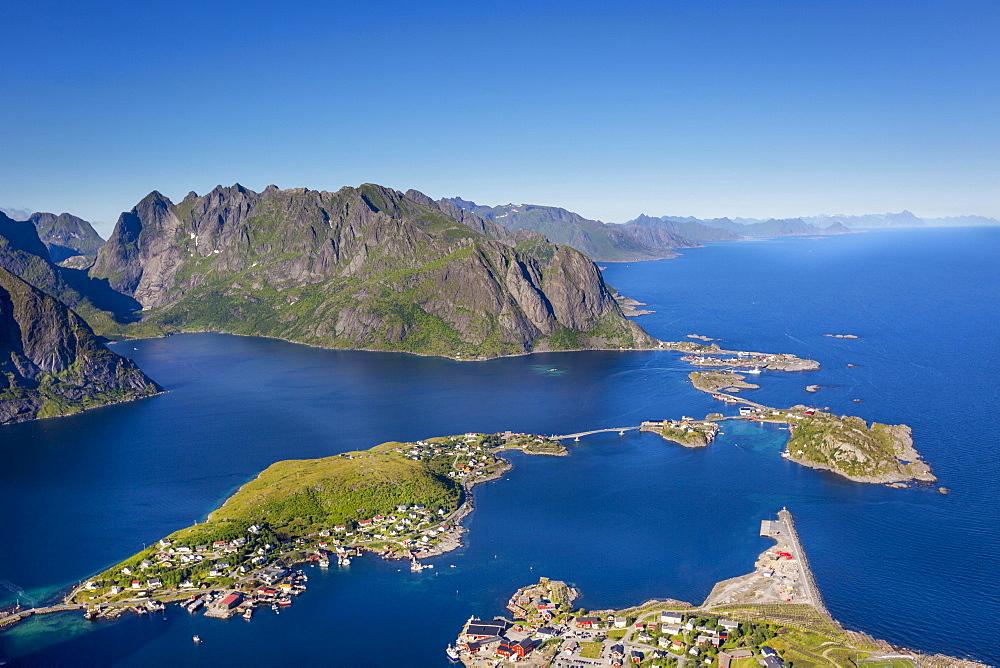 View from Reinebringen, Reinebriggen, 442m, towards Hamnoy, Reine and Reinefjord with mountains, Moskenes, Moskenesøy, Lofoten, Norway, Europe