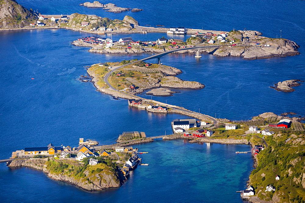 View from Reinebringen, Reinebriggen, 442m, view towards Hamnoy, Moskenes, Moskenesøy, Lofoten, Norway, Europe