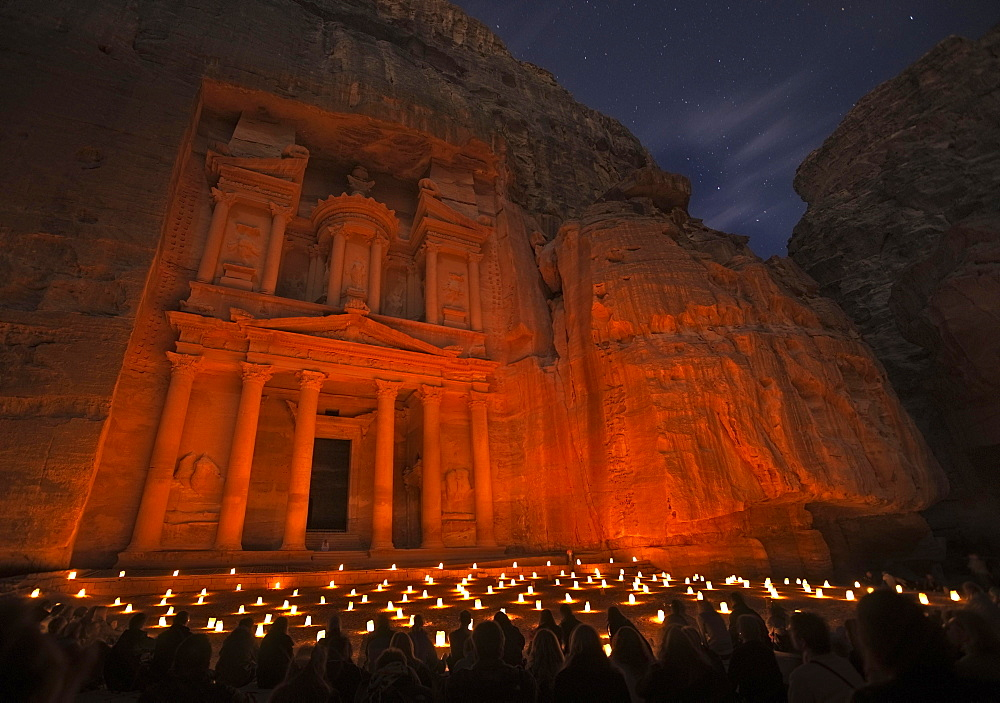 Petra by Night event in front of the Treasury of Pharaoh, Petra, Jordan, Asia - 832-381956