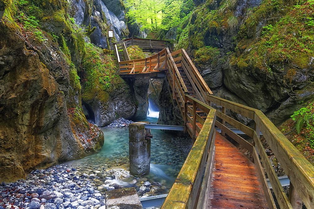 Boardwalk in the Seisenberg Gorge, Weissbach stream, near Lofer, Zell am See District, Salzburg State, Austria, Europe