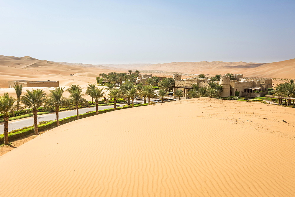 Qasr Al Sarab Desert Resort by Anantara, surrounded by high sand dunes, Liwa Oasis, Al Gharbia, Rub' al Khali or Empty Quarter, United Arab Emirates, Asia