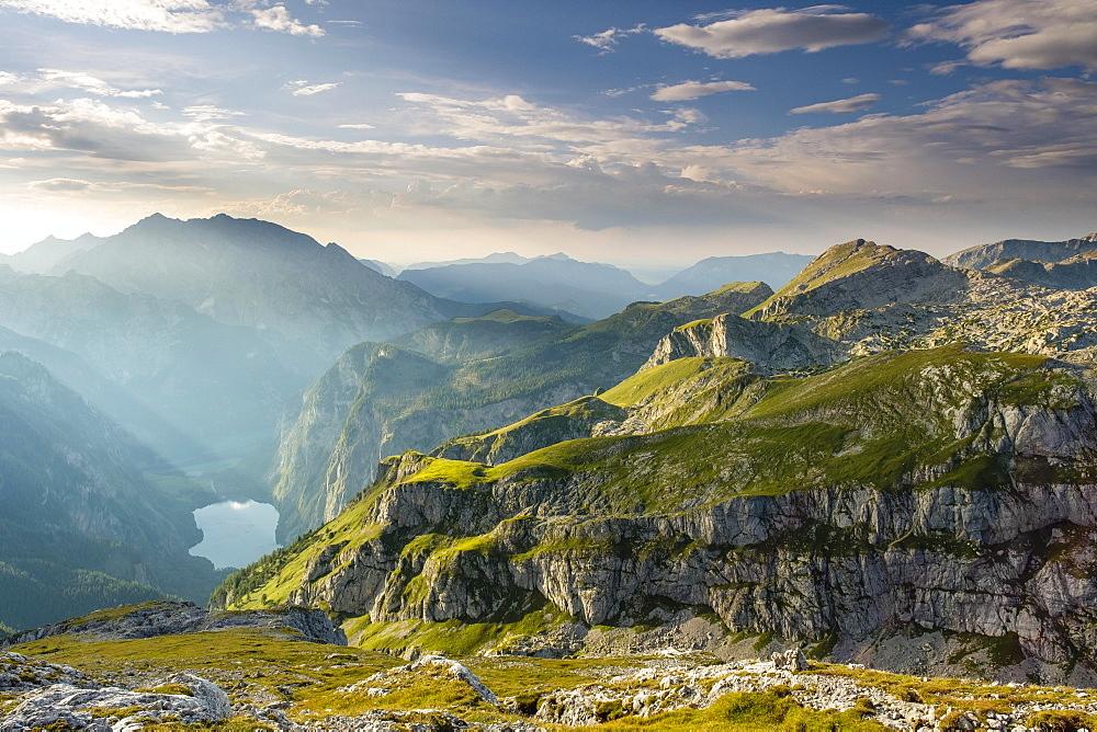 View on the lake Obersee, above the Hagen mountains, left the Watzmann, Berchtesgaden Alps, Schonau am Konigsee, Berchtesgaden National Park, Berchtesgadener Land, Bavaria, Germany, Europe