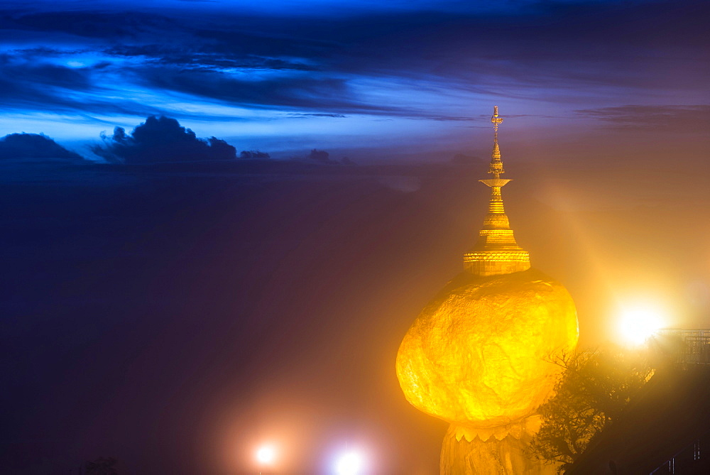 Illuminated Golden Rock at night with Kyaiktiyo Pagoda, Kyaikto, Thaton District, Mon State, Myanmar, Asia