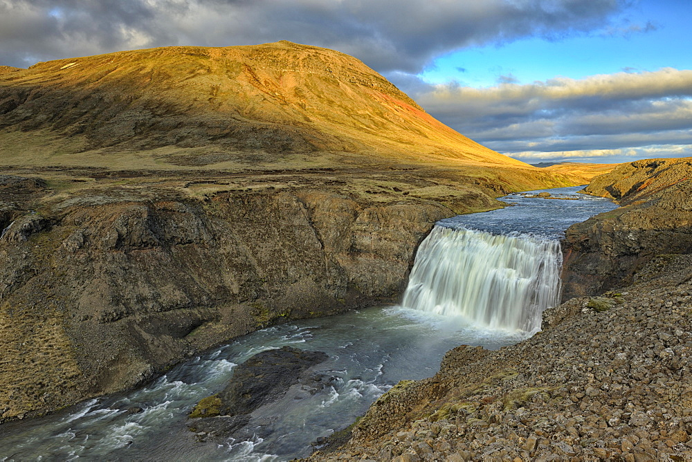 Pörnfoss Waterfall, evening light, Iceland, Europe