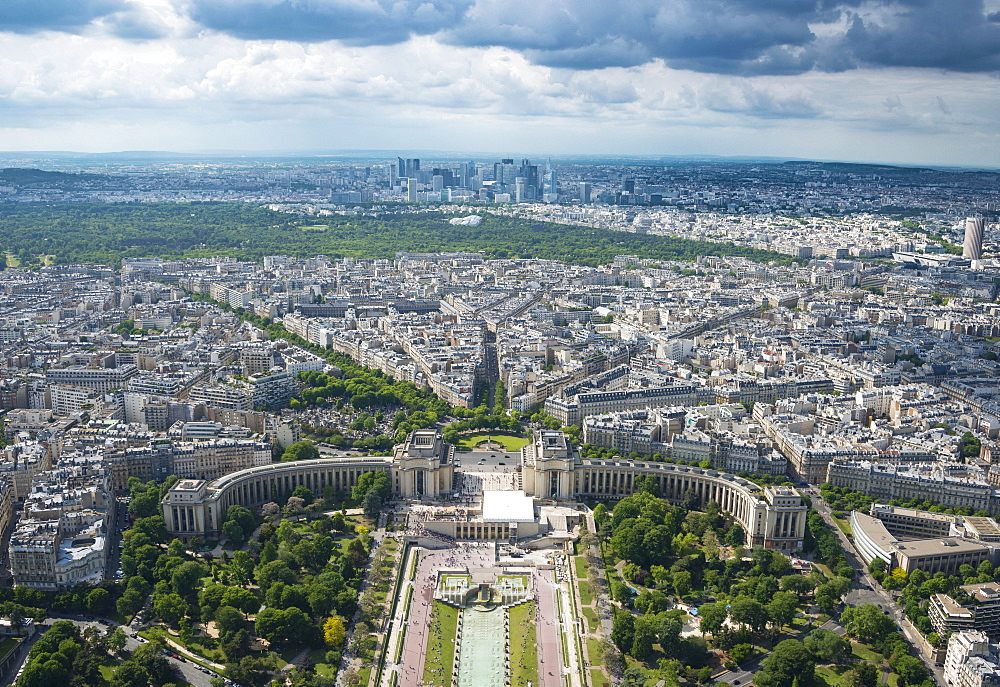 Cityscape, view from the Eiffel Tower over the Seine and the Jardin de Trocadero, Place du Trocadero et du 11 Novembre, La Defense district behind, Ile-de-France, France, Europe