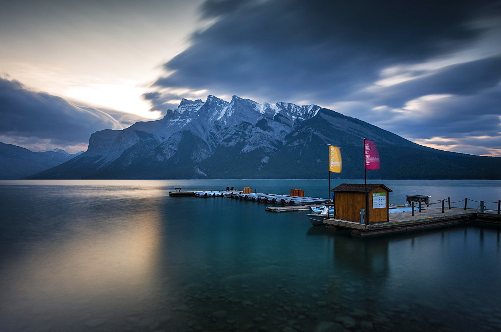 Boathouse on Lake Minnewanka, Sunrise, Mountains with Snow, Banff, Banff National Park, Rocky Mountains, Alberta, Canada, North America