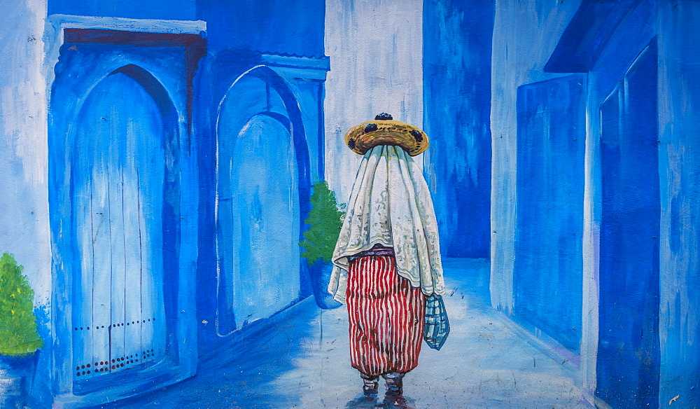 Blue Mural on Facade, Local in an Alley, Blue Houses, Medina of Chefchaouen, Chaouen, Tangier-Tétouan, Morocco, Africa