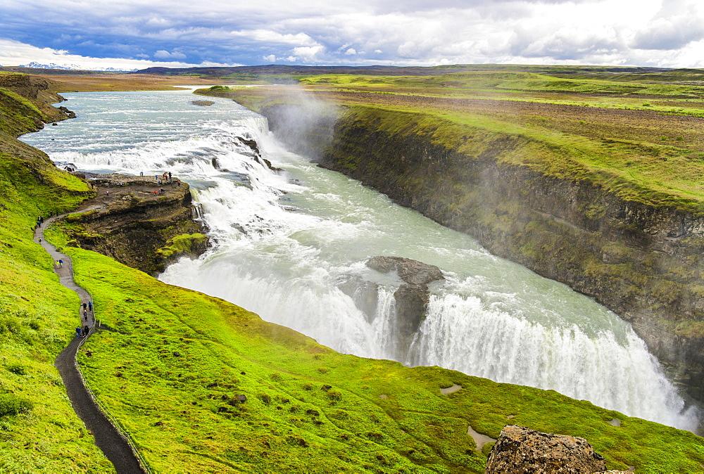 Gullfoss Waterfall, River Hvita, Haukadalur, Iceland, Europe