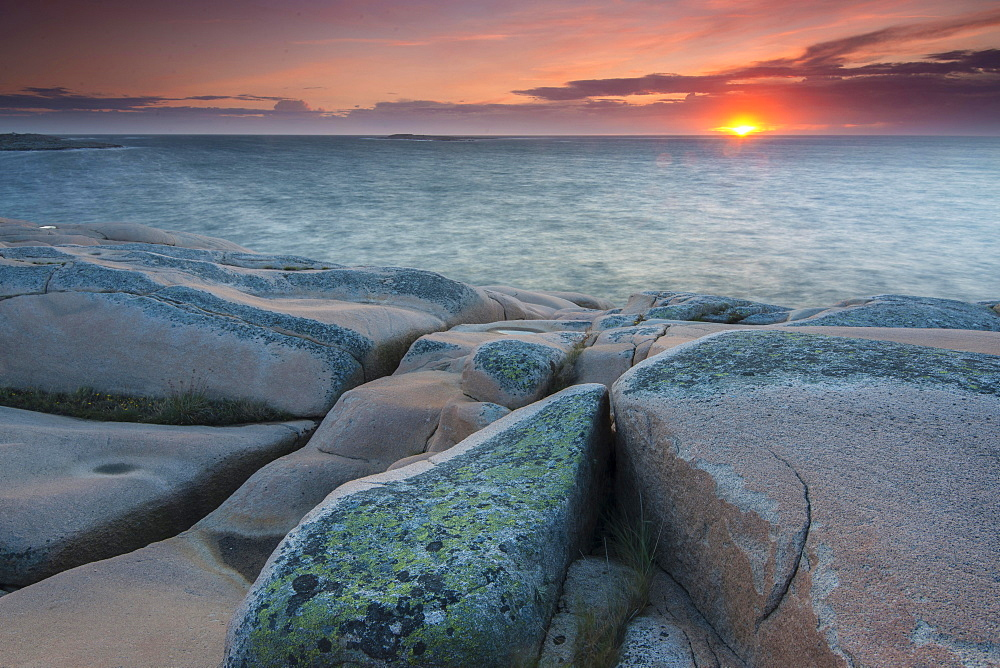 Rocks, sunset, evening atmosphere at the coastline near Smogen, Bohuslan province, Vastra Gotaland County, Sweden, Europe