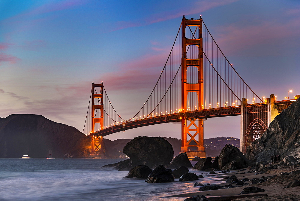 Golden Gate Bridge, Marshall's beach, night, rocky coast, San Francisco, USA, North America