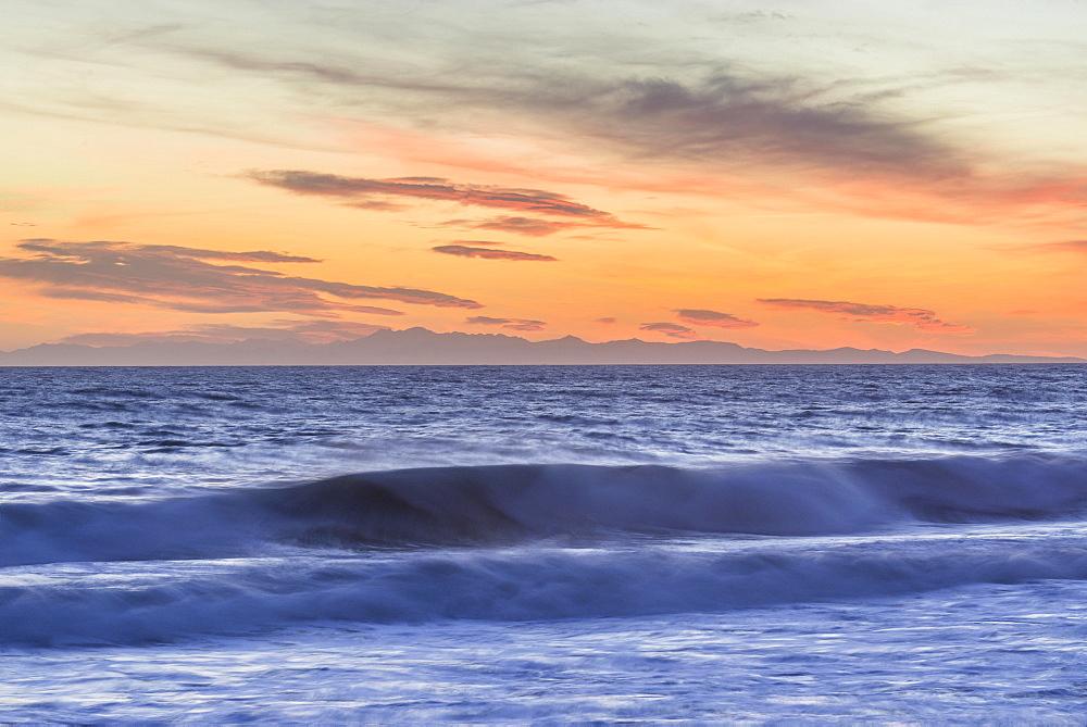 Sunset over the sea, Levanto, Liguria, Italy, Europe
