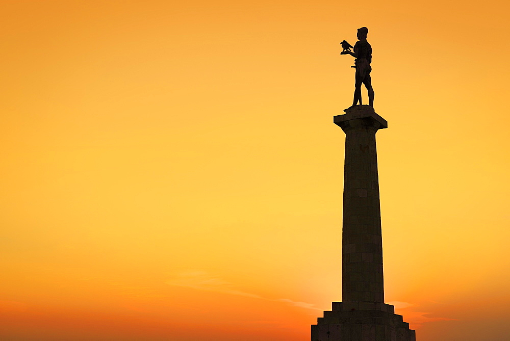The Victor Monument, silhouette in afterglow, Pobednik, Kalemegdan, Belgrade, Serbia, Europe