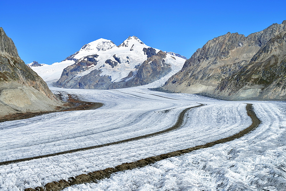Great Aletsch Glacier, the mountains Eiger, Monch and Jungfrau at the back, Canton of Valais, Goms, Switzerland, Europe