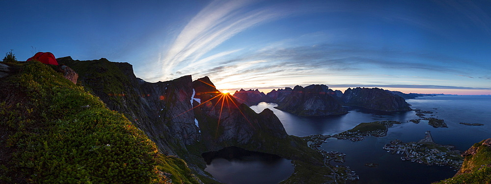 View from Reinebringen, Reinebriggen towards Reine and Reinefjord with mountains, midnight sun, Moskenes, Moskenesøy, Lofoten, Norway, Europe
