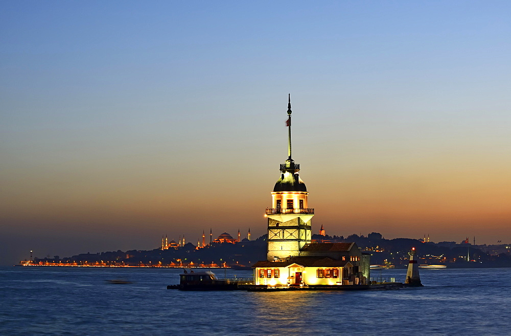 Maiden's Tower in the Bosporus, left the Blue Mosque and Hagia Sophia; from Uskudar, Istanbul, Turkey, Asia