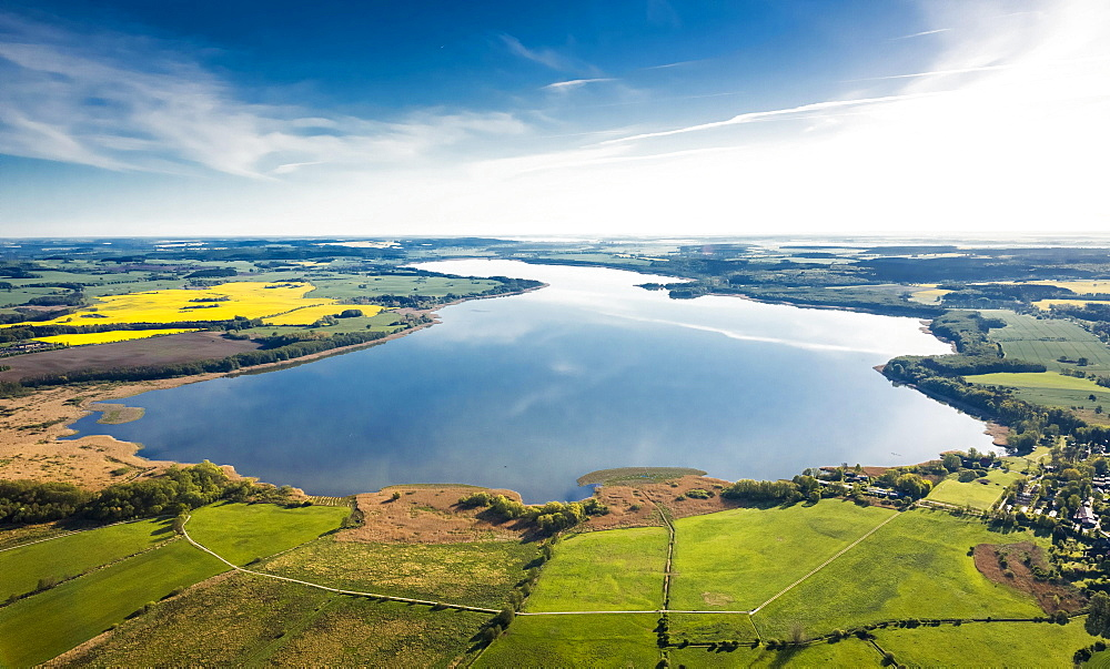 Aerial view, Malchiner See lake, near Dahmen, Dahmen, Mecklenburg Lake District, Mecklenburg-Western Pomerania, Germany, Europe