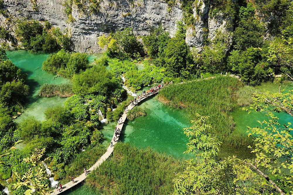 A boardwalk through Plitvice Lakes, Plitvice, Croatia, Europe