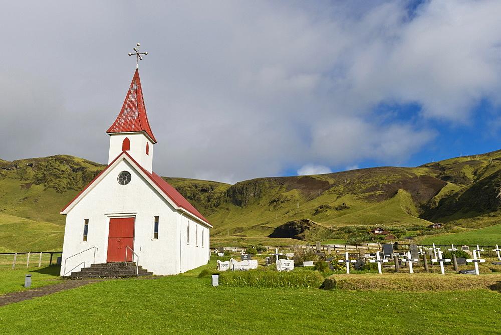 Reyniskirkja, church on Reynisfjara Beach near Vik i Myrdal, South Coast, Iceland, Europe