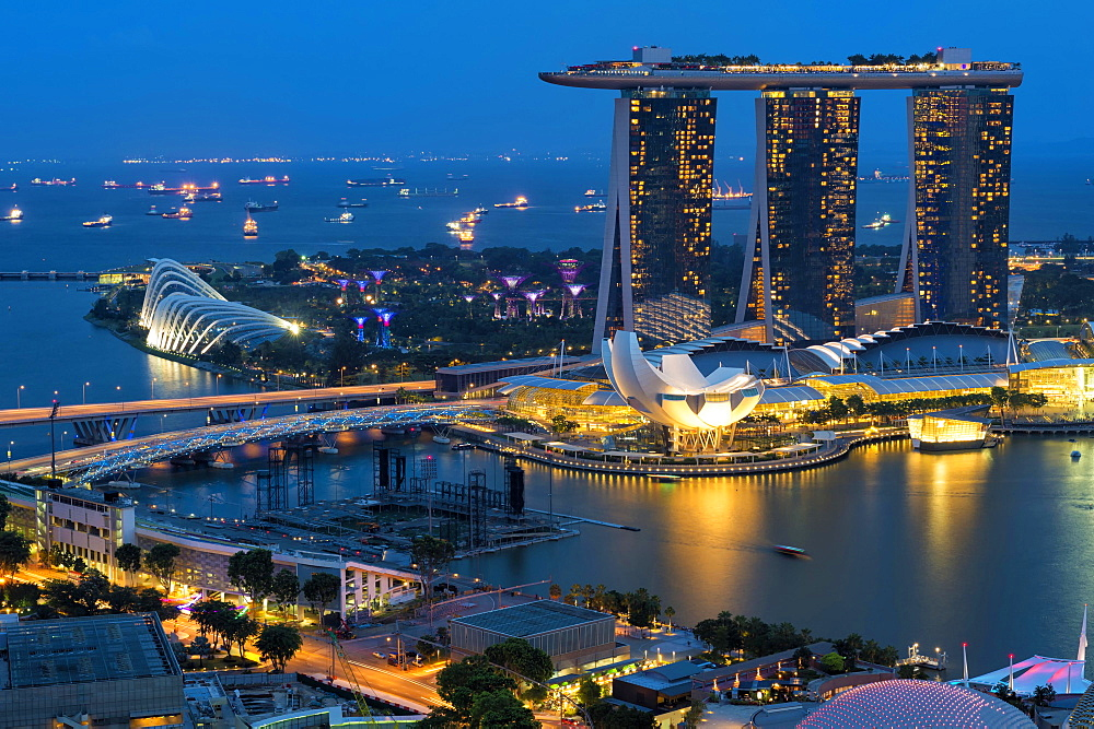 Marina Bay, at night, Singapore, Asia