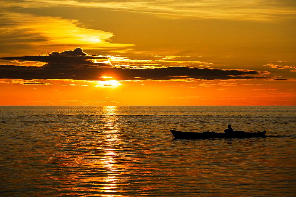 Sunset, boat, Sulawesi, Indonesia, Asia