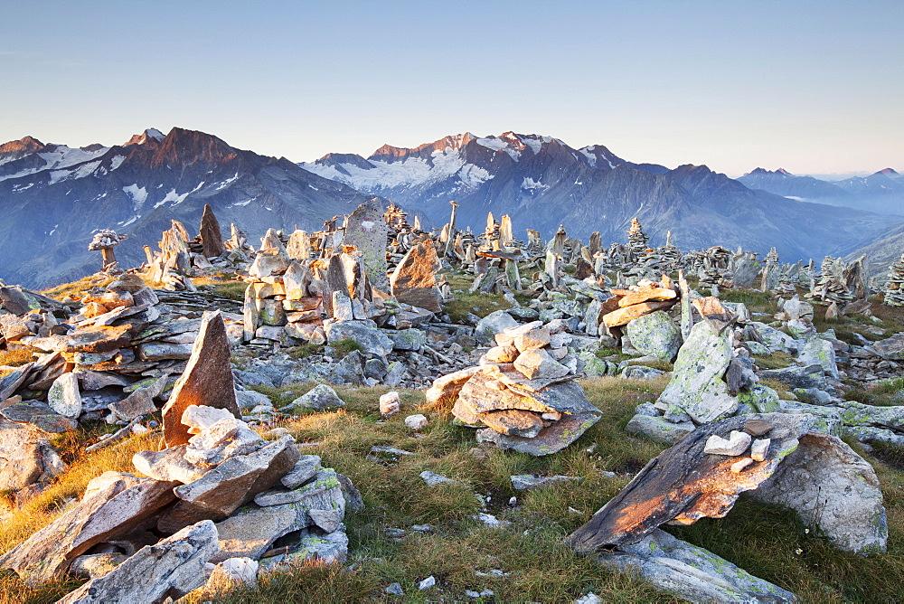 Cairns on the Peterskopfl, Ginzling, Tyrol, Austria, Europe