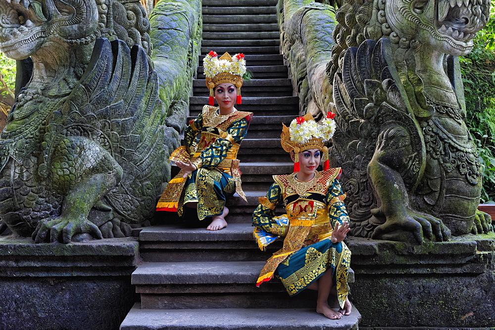 Two Balinese dancers, Monkey Forest, Ubud, Bali, Indonesia, Asia