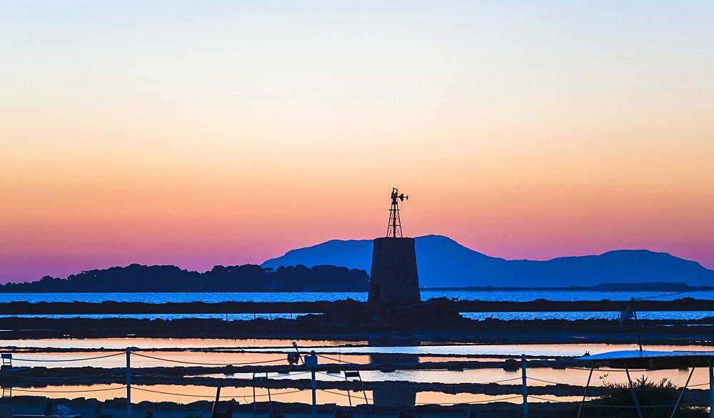 Saltworks Ettore Infersa windmill, Marsala, Laguna Stagnone, Province of Trapani, Sicily, Italy, Europe