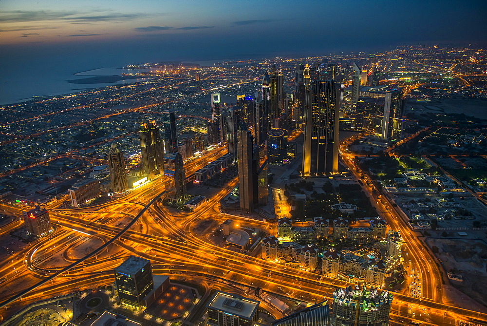 View from Burj Khalifa at night, Dubai, Emirate of Dubai, United Arab Emirates, Asia