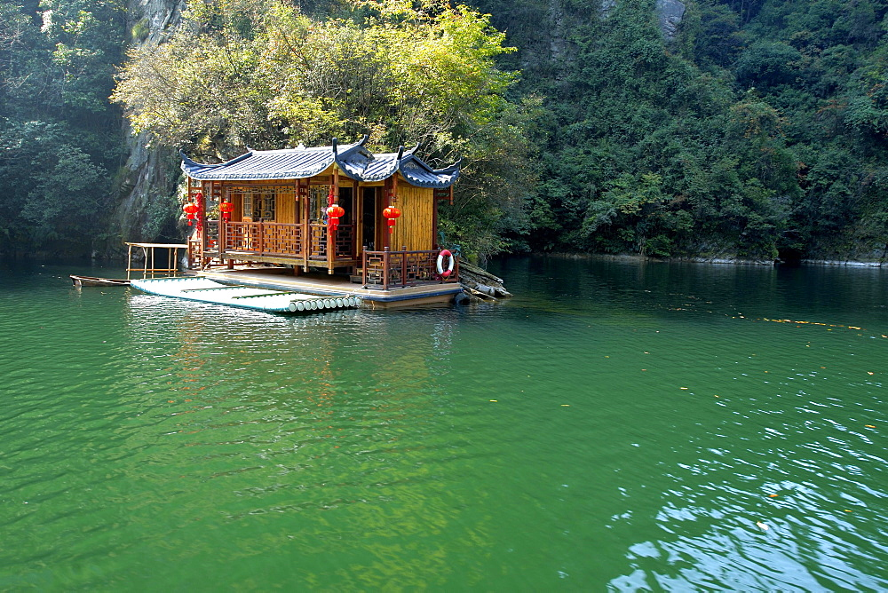Pier, Baofeng Lake, UNESCO World Heritage Site, Wuling Yuan, Zhangjiajie National Park, Hunan Province, China, Asia