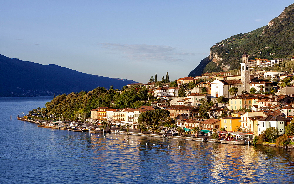 Lake Garda with the town of Limone sul Garda, Lombardy, Italy, Europe