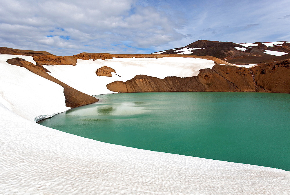 Snow fields, volcanic lake, turquoise water, Krafla, Iceland, Europe