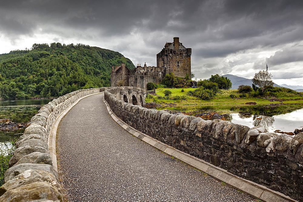 Eilean Donan Castle at the confluence of Loch Duich, Loch Alsh and Loch Long, Scottish Highlands, Dornie, Scotland, United Kingdom, Europe