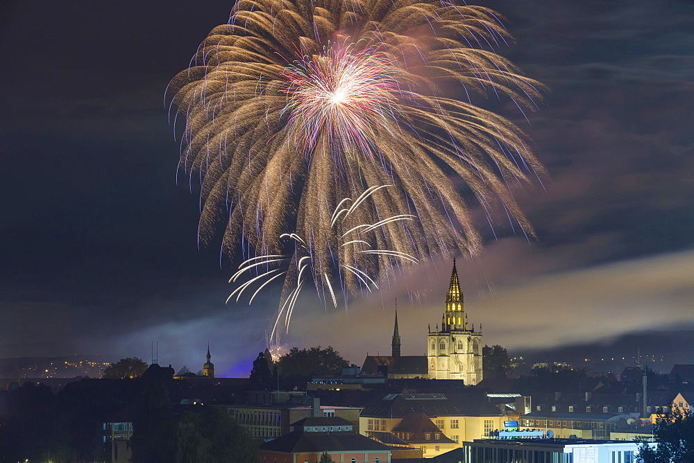 Cathedral of Our Lady with fireworks during the Seenachtfest Festival, Konstanz, Baden-Wurttemberg, Germany, Europe