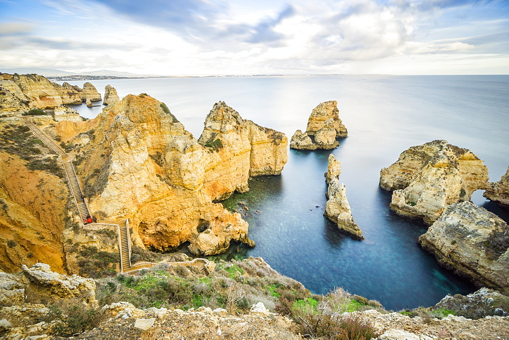 Walkway in the cliffs in Ponta da Piedade, Lagos, Algarve, Portugal, Europe