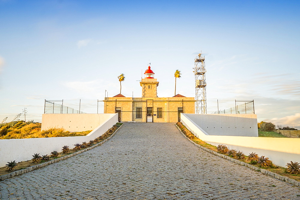 Lighthouse at sunset on Ponta da Piedade, Lagos, Algarve, Portugal, Europe
