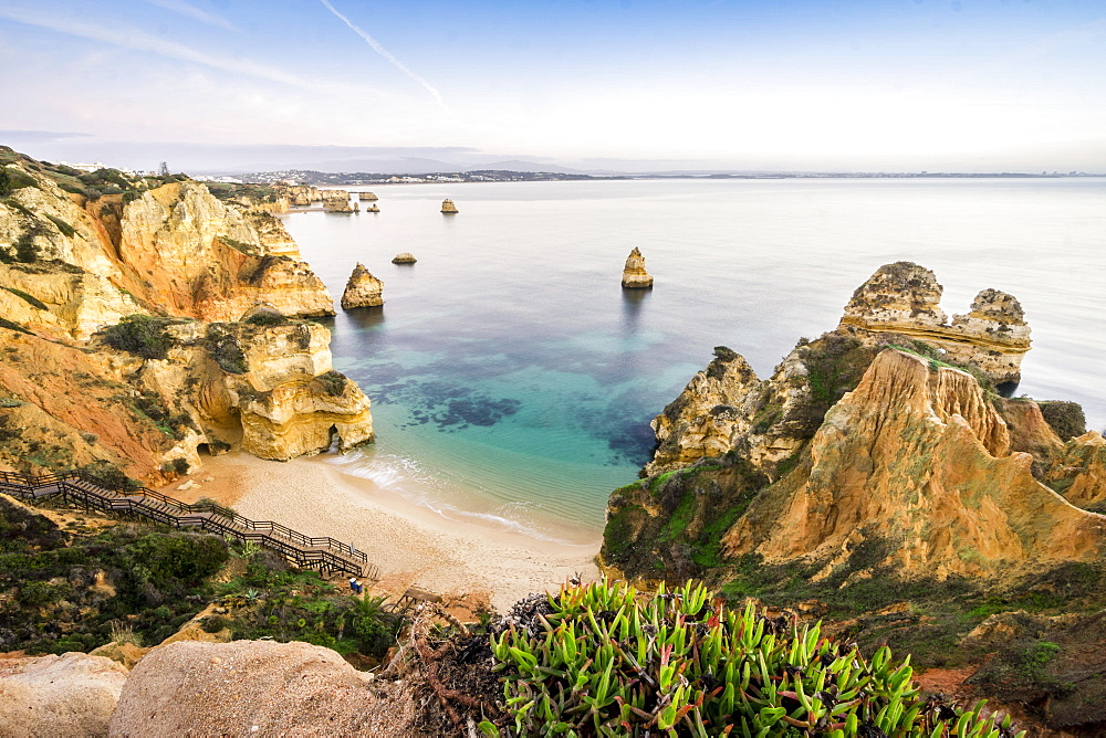 Camilo Beach with cliffs, Lagos, Algarve, Portugal, Europe