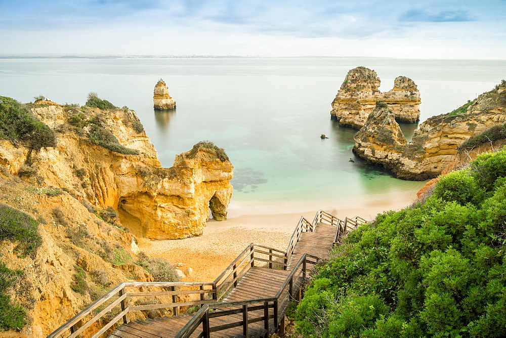Camilo Beach with wooden walkway to beach, Lagos, Algarve, Portugal, Europe