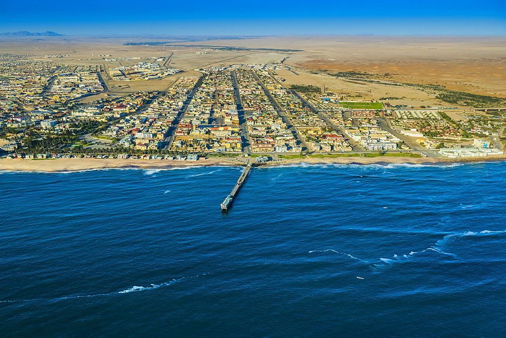 Aerial view, Swakopmund, Jetty and downtown, Erongo region, Namibia, Africa