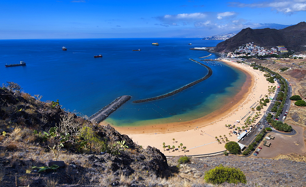 Aerial view, sandy beach, Playa de las Teresitas, San Andres, Tenerife, Canary Islands, Spain, Europe