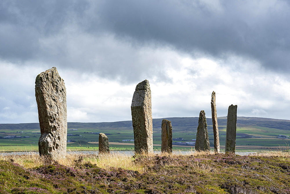 Ring of Brodgar, circa 2500 BC, Neolithic Stone Circle, Henge, UNESCO World Heritage Site, Orkney Mainland, Scotland, United Kingdom, Europe