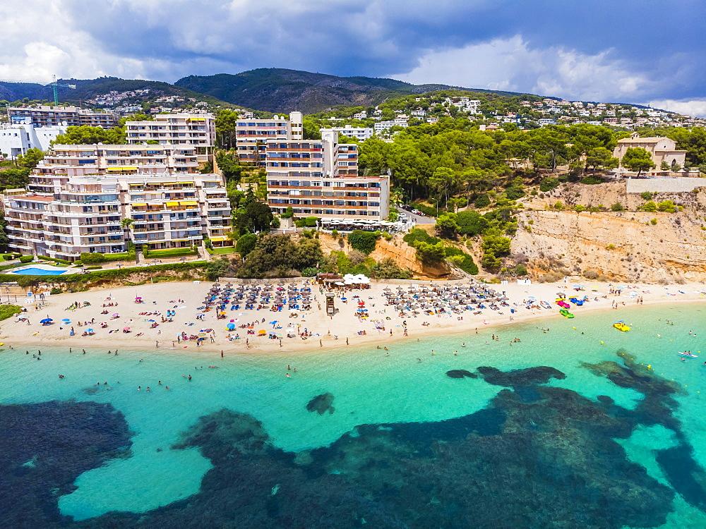 Aerial view, Puerto Portals luxury marina, Platja de s' Oratori and Illa d'en Sales beach, Portals Nous, Palma de Majorca region, Majorca, Balearic Islands, Spain, Europe