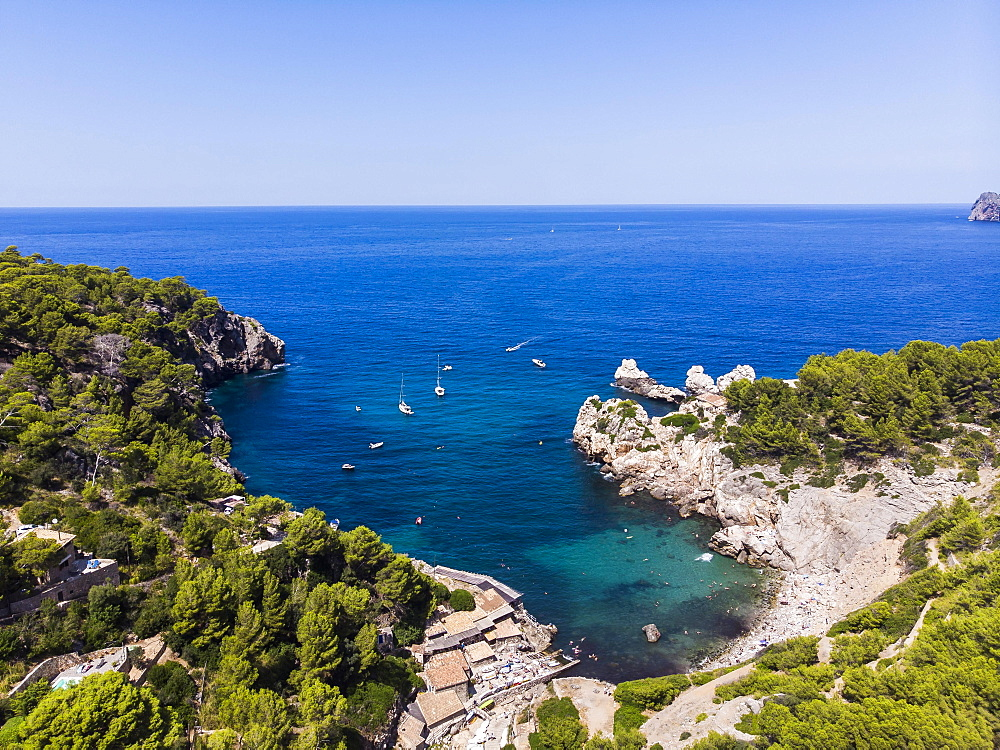 Aerial view, Cala Deia bay, Deia, Serra de Tramuntana, Majorca, Balearic Islands, Spain, Europe