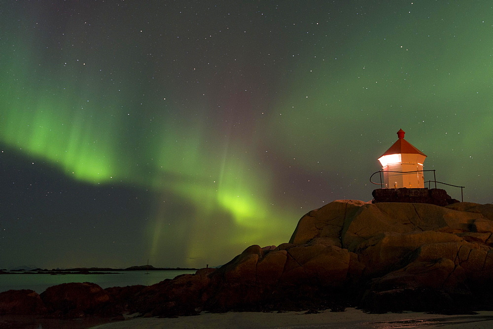 Northern Lights over a lighthouse, Eggum, Vestvagoy, district of Lofoten, Norway, Europe