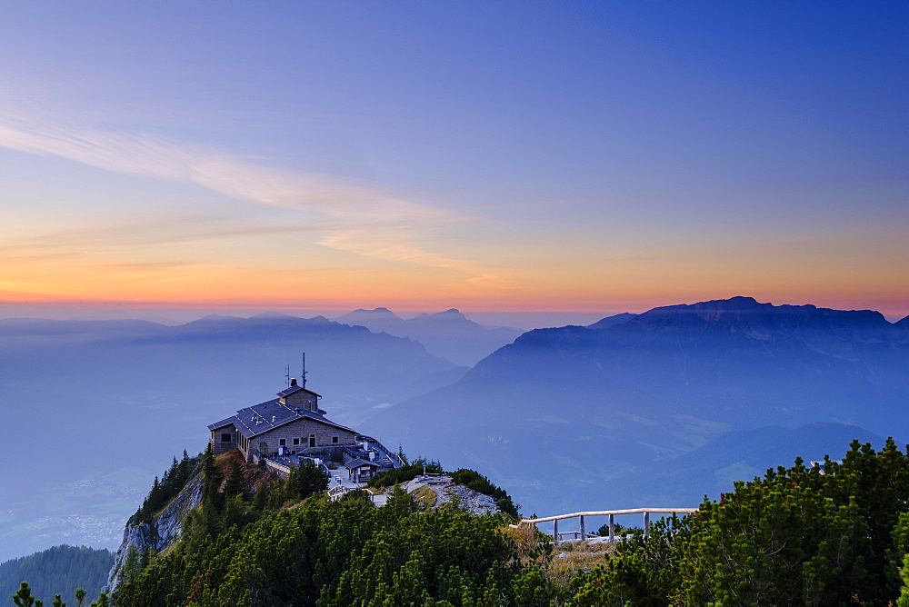 Kehlsteinhaus am Kehlstein, Untersberg at the back, sunset, Berchtesgaden Alps, Berchtesgaden National Park, Schonau am Konigsee, Upper Bavaria, Beyern, Germany, Europe
