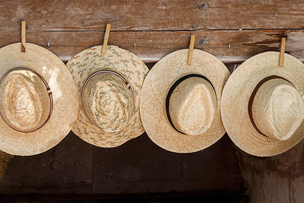Straw hats for sale, farmer's market in Sineu, Majorca, Balearic Islands, Spain, Europe
